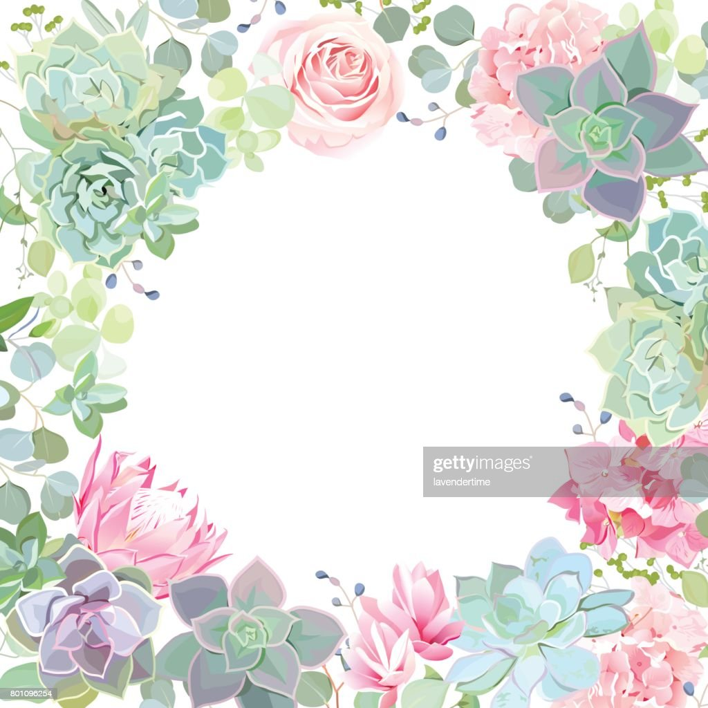 Botanical style banner with flower mix