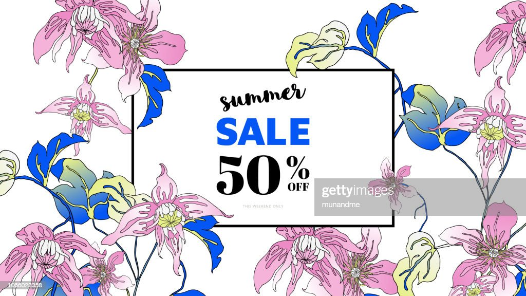 Botanical summer sale banner template design, hand drawn Clematis alpina flowers, blue and pink tones