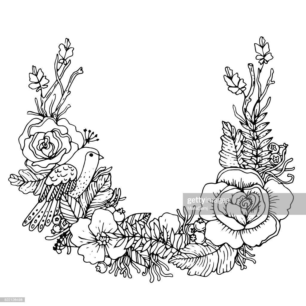 Botanical wreath with bird