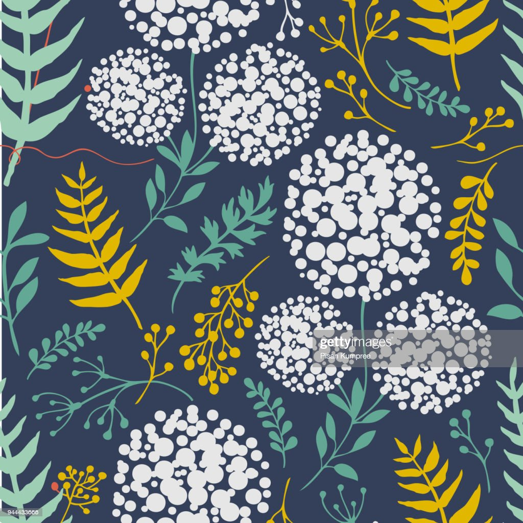 Botanicals Pattern With Plants Herbs Vector Image