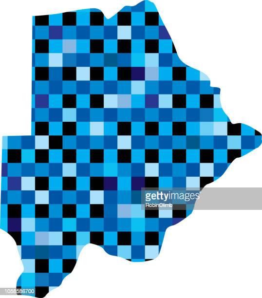 ilustrações, clipart, desenhos animados e ícones de mapas de botswana azul quadrados - botsuana