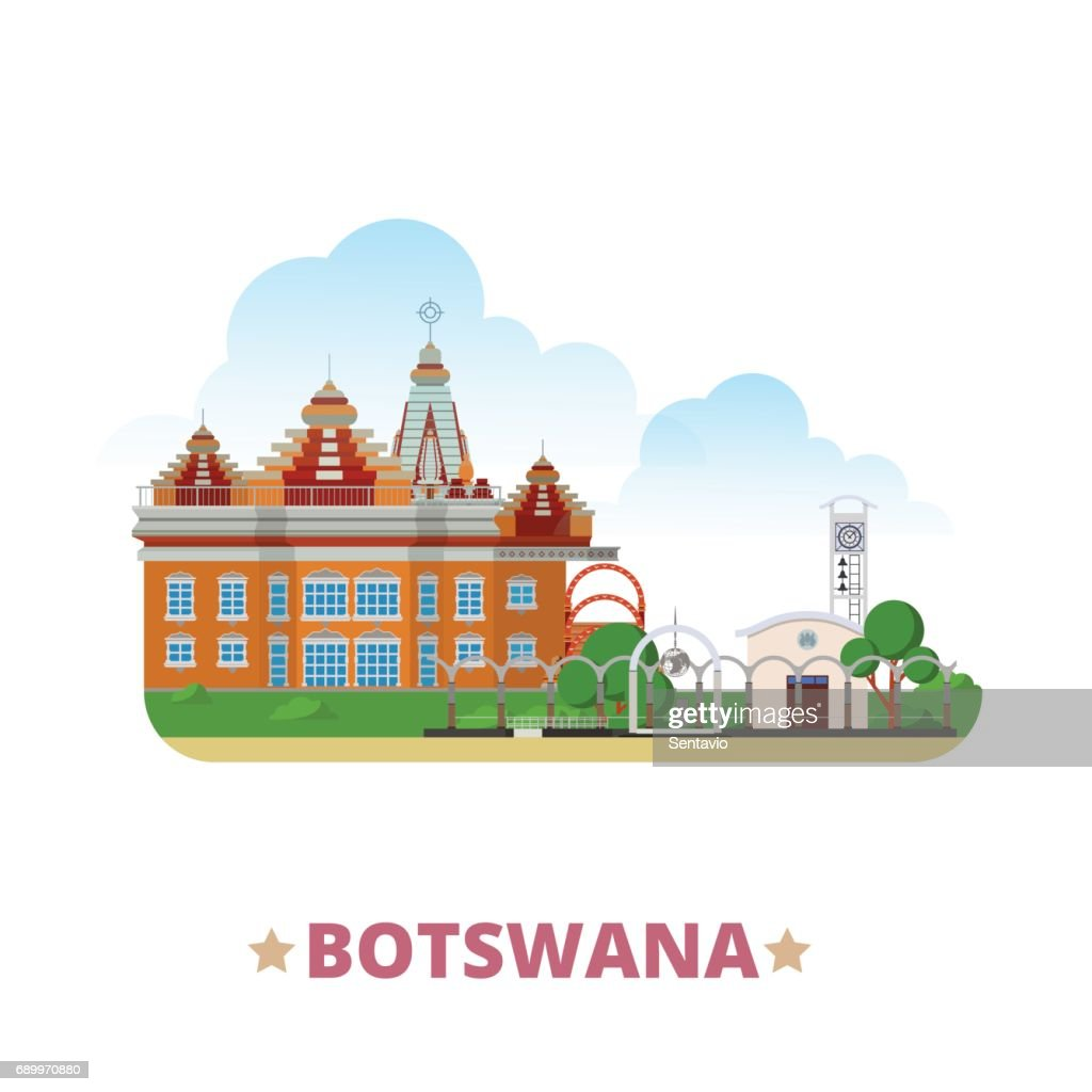 Botswana country design template. Flat cartoon style historic sight showplace web vector illustration. World vacation travel sightseeing Africa African collection. Parliament Iskcon Botswana Temple.