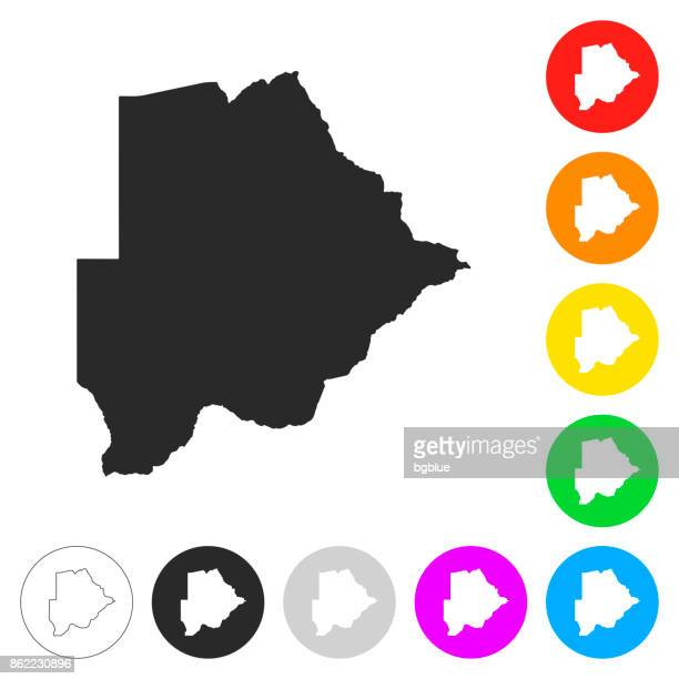 botswana map - flat icons on different color buttons - botswana stock illustrations, clip art, cartoons, & icons