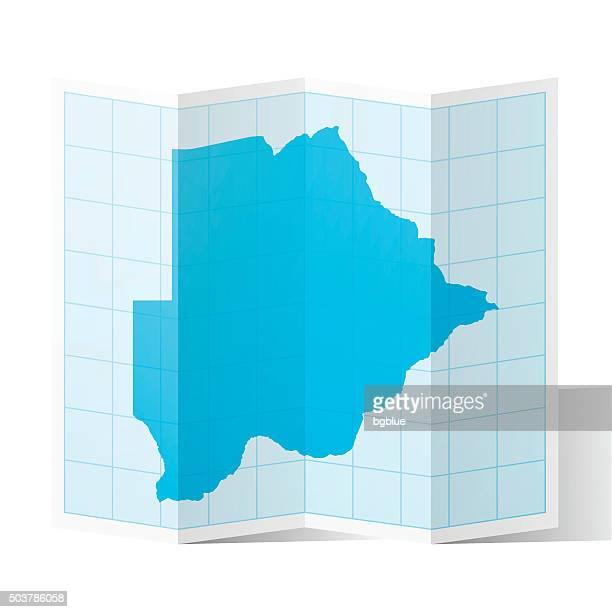 botswana map folded, isolated on white background - botswana stock illustrations, clip art, cartoons, & icons