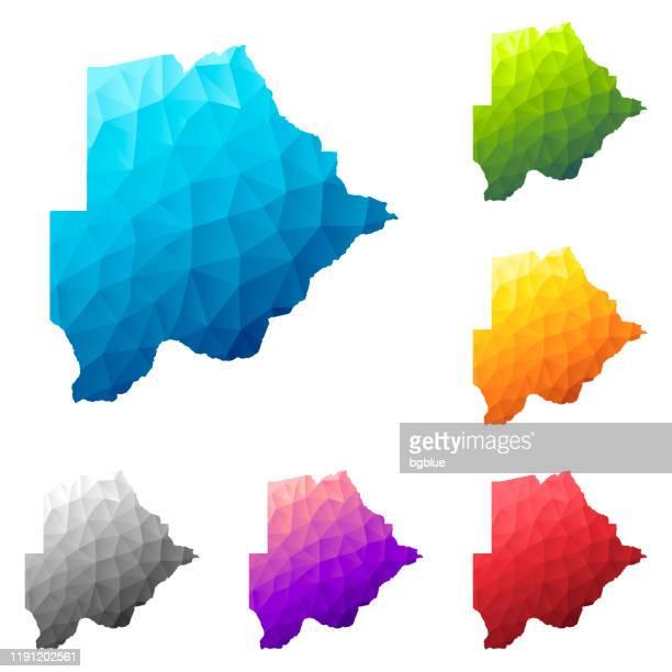 ilustrações, clipart, desenhos animados e ícones de mapa de botswana no estilo baixo da poli - projeto geométrico poligonal colorido - botsuana