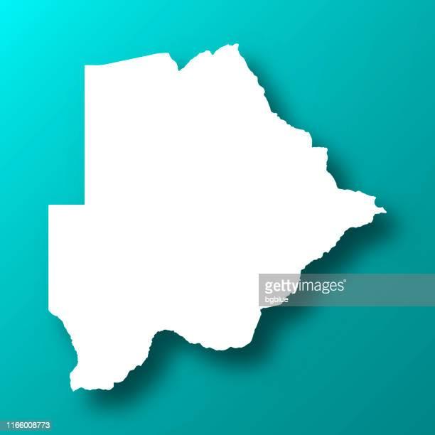botswana map on blue green background with shadow - botswana stock illustrations, clip art, cartoons, & icons