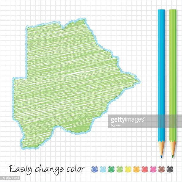 botswana map sketch with color pencils, on grid paper - botswana stock illustrations, clip art, cartoons, & icons