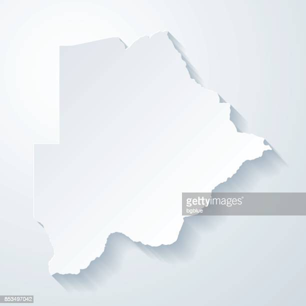 botswana map with paper cut effect on blank background - botswana stock illustrations, clip art, cartoons, & icons