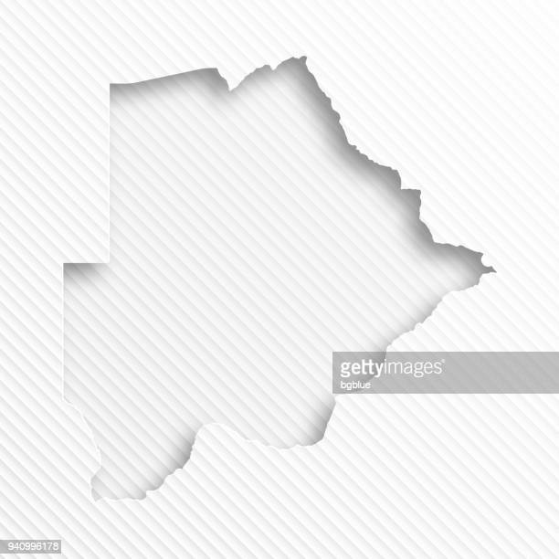 botswana map with paper cut on abstract white background - botswana stock illustrations, clip art, cartoons, & icons