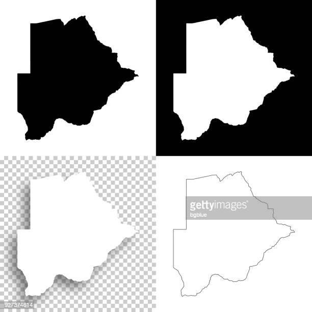 botswana maps for design - blank, white and black backgrounds - botswana stock illustrations, clip art, cartoons, & icons