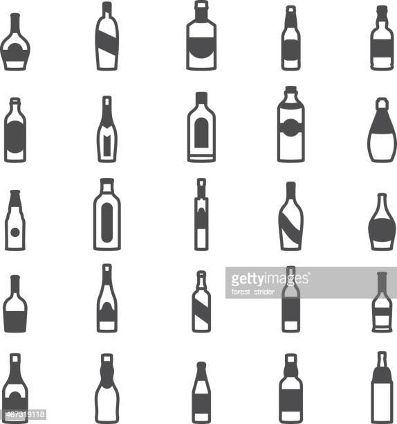 bottle alcohol icons - vodka drink stock illustrations, clip art, cartoons, & icons