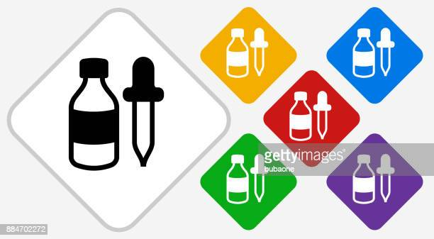 bottle and dropper color diamond vector icon - pipette stock illustrations, clip art, cartoons, & icons