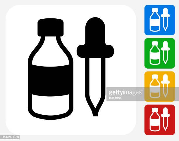 bottle and dropper icon flat graphic design - pipette stock illustrations, clip art, cartoons, & icons