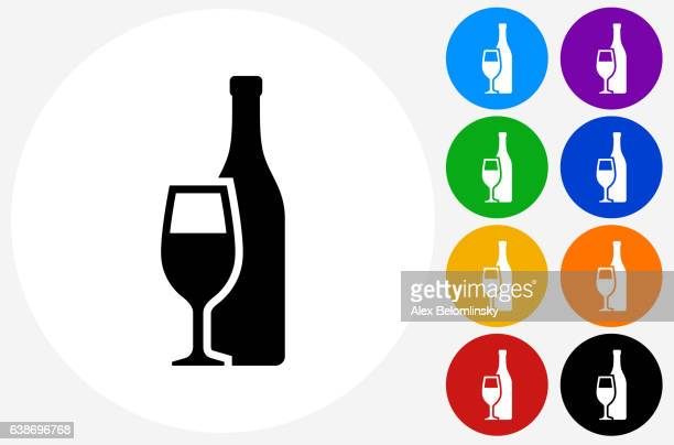 Bottle and Glass Icon on Flat Color Circle Buttons