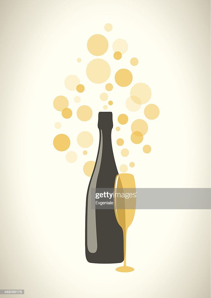 Bottle and glass of champagne with bubbles on grey background.