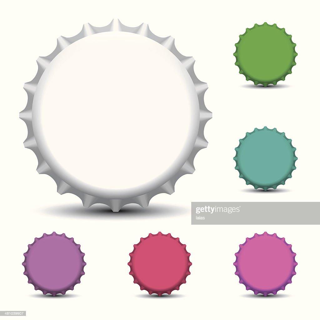 Bottle caps isolated on white background