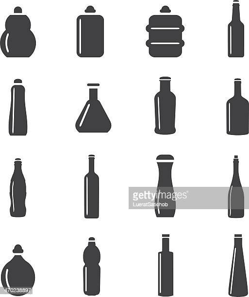 bottle collection mono color icons - jug stock illustrations, clip art, cartoons, & icons