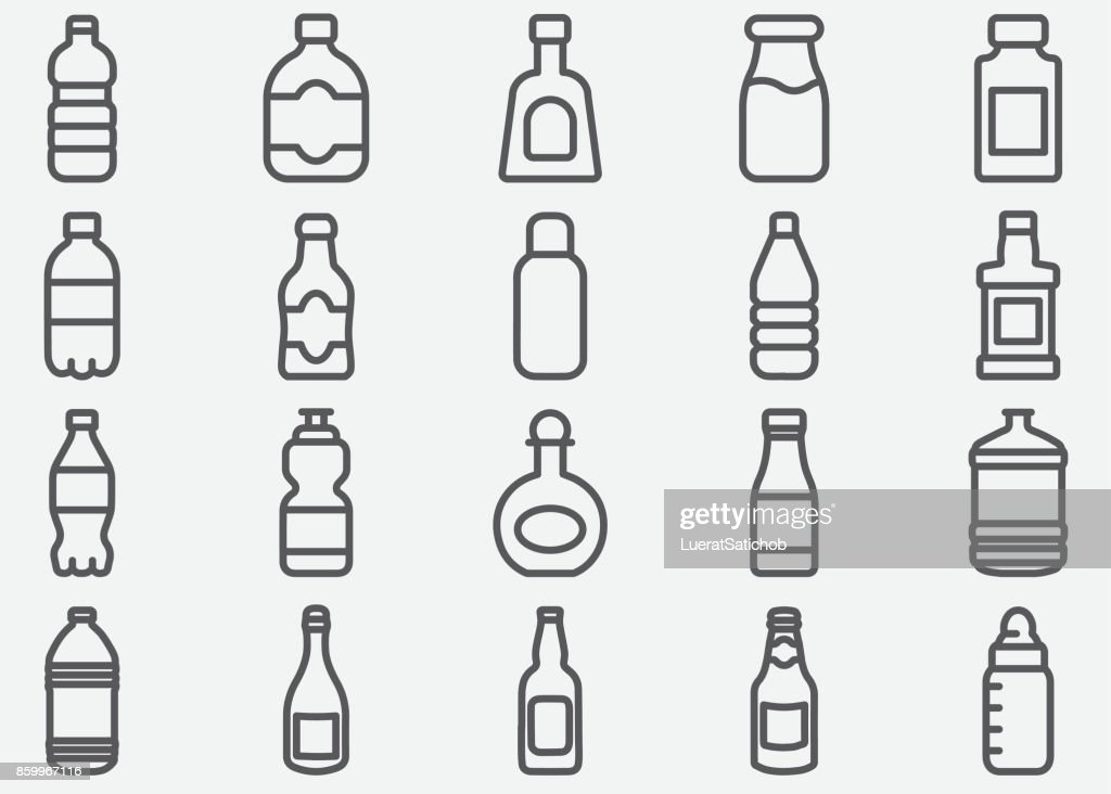 Bottle Drink Line Icons : stock illustration