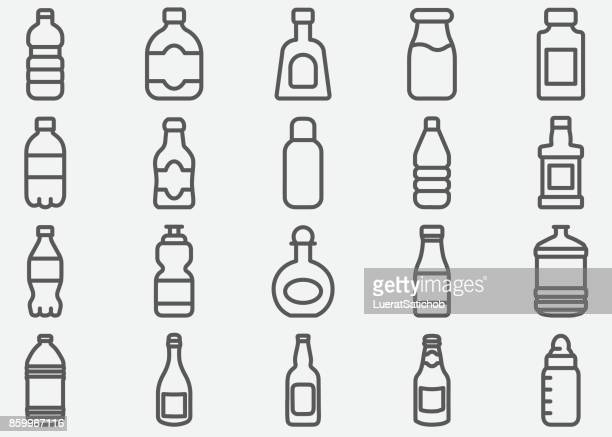 stockillustraties, clipart, cartoons en iconen met fles drank lijn pictogrammen - fles