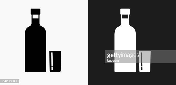 bottle icon on black and white vector backgrounds - rum stock illustrations, clip art, cartoons, & icons