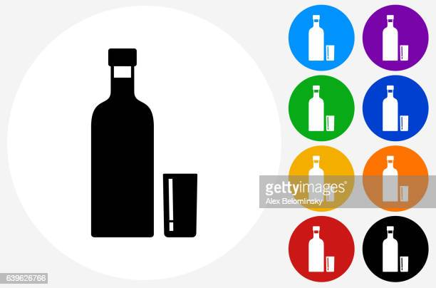 Bottle Icon on Flat Color Circle Buttons
