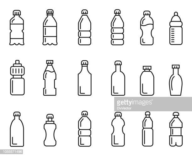 stockillustraties, clipart, cartoons en iconen met fles pictogramserie - fles