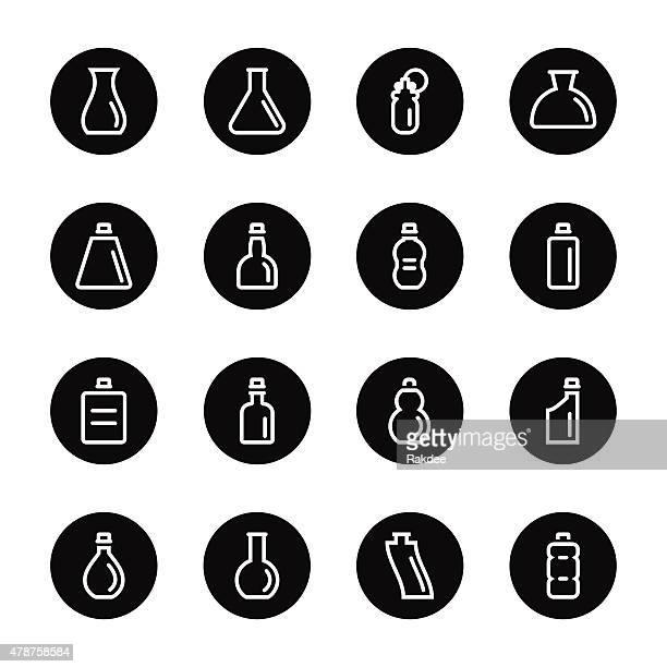 bottle icons set 4 - black circle series - brandy stock illustrations, clip art, cartoons, & icons