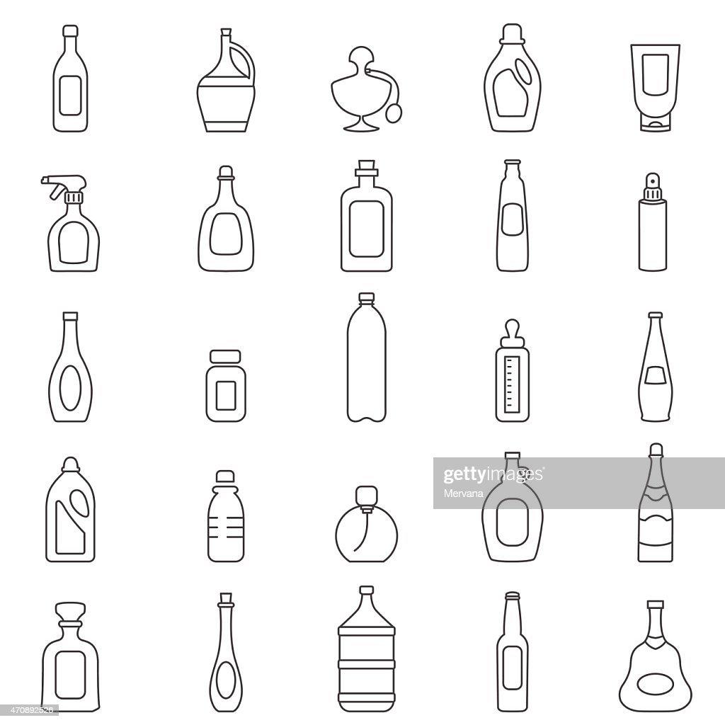 Bottle line icons set.Vector
