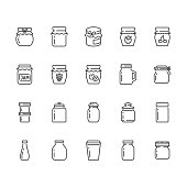 Bottle of jam flat line icons. Glass packaging for fruit confiture, raspberry strawberry jelly container vector illustrations. Thin signs for sweet food store. Pixel perfect 64x64. Editable Strokes