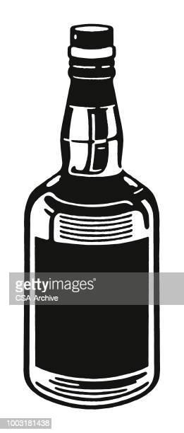 bottle of liquor - whiskey stock illustrations, clip art, cartoons, & icons