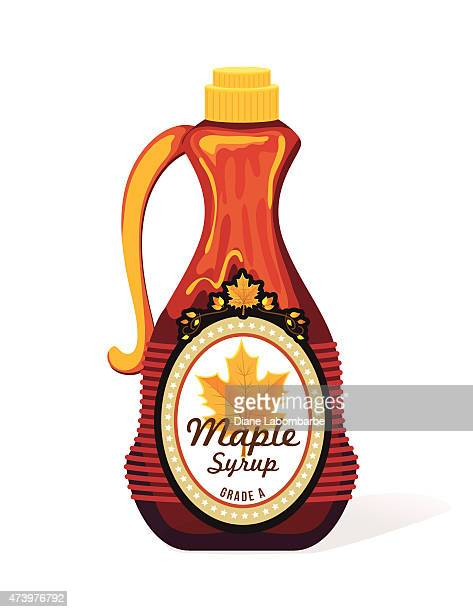bottle of maple syrup - maple syrup stock illustrations