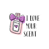 A bottle of perfume with a bow, doodle. With motivational inscription I love your scent