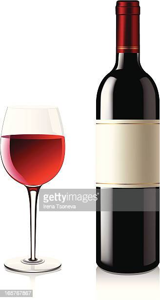 bottle of red wine next to a full glass of red wine - red wine stock illustrations, clip art, cartoons, & icons