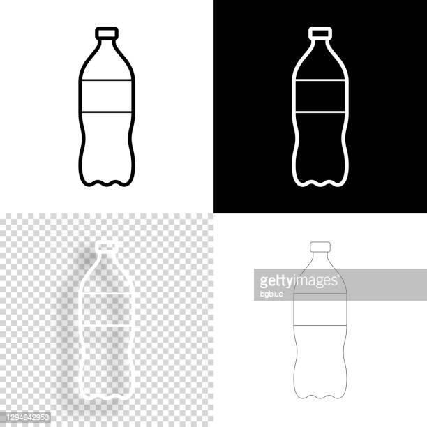 bottle of soda. icon for design. blank, white and black backgrounds - line icon - soda bottle stock illustrations