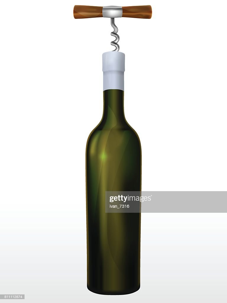 Bottle of wine and corkscrew