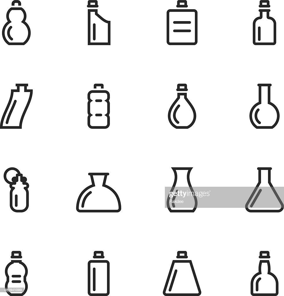 Bottle Silhouette Icons | Set 4 : stock illustration