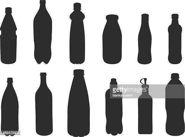 bottle silhouettes - milk bottle stock illustrations