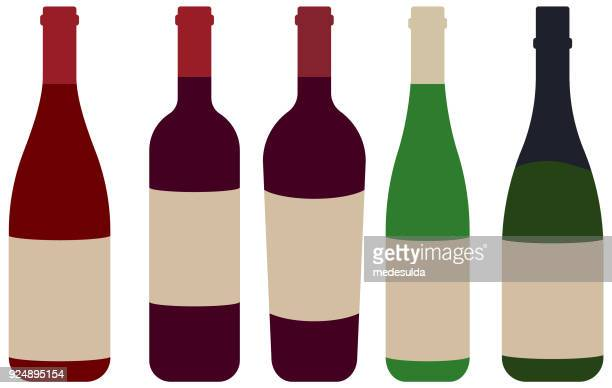 bottle wine red rose - champagne cork stock illustrations, clip art, cartoons, & icons