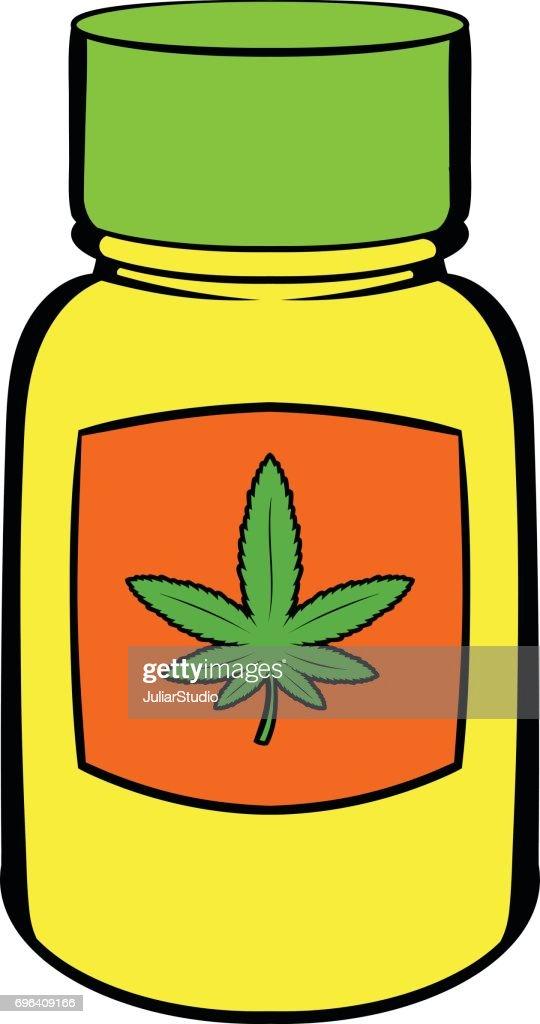 Bottle with buds of marijuana icon cartoon