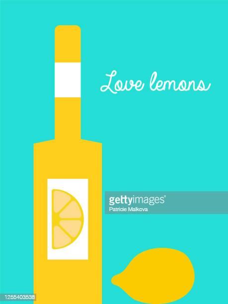 bottle with lemon drink and lemon illustration, lemon alcoholic drink - lemonade stock illustrations