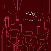 Bottles and glasses for wine. Vector background for menu, tasting, wine card. Illustration with line icons is cropped with a mask.