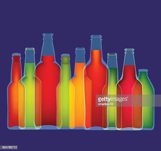 bottles of beer - lager stock illustrations, clip art, cartoons, & icons