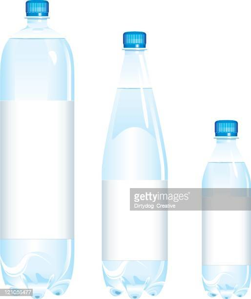 bottles of water various sizes - water bottle stock illustrations, clip art, cartoons, & icons