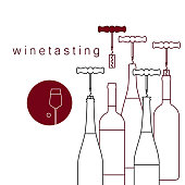 Bottles of wine and a corkscrew with a cork. Vector linear icon of wine tasting.