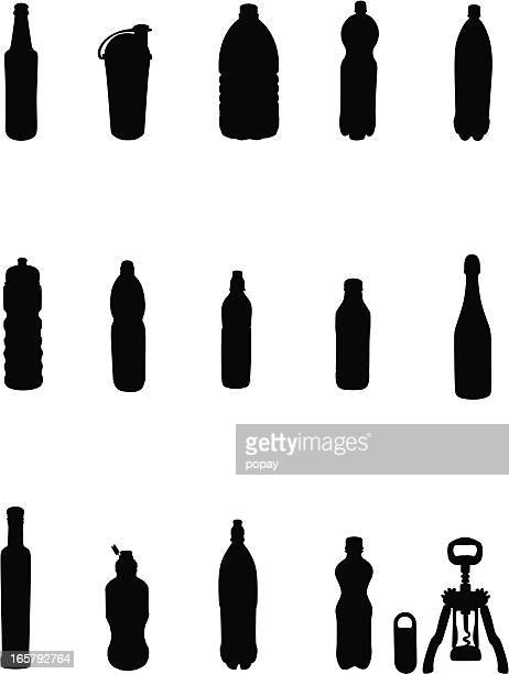 bottles silhouettes - cognac brandy stock illustrations, clip art, cartoons, & icons