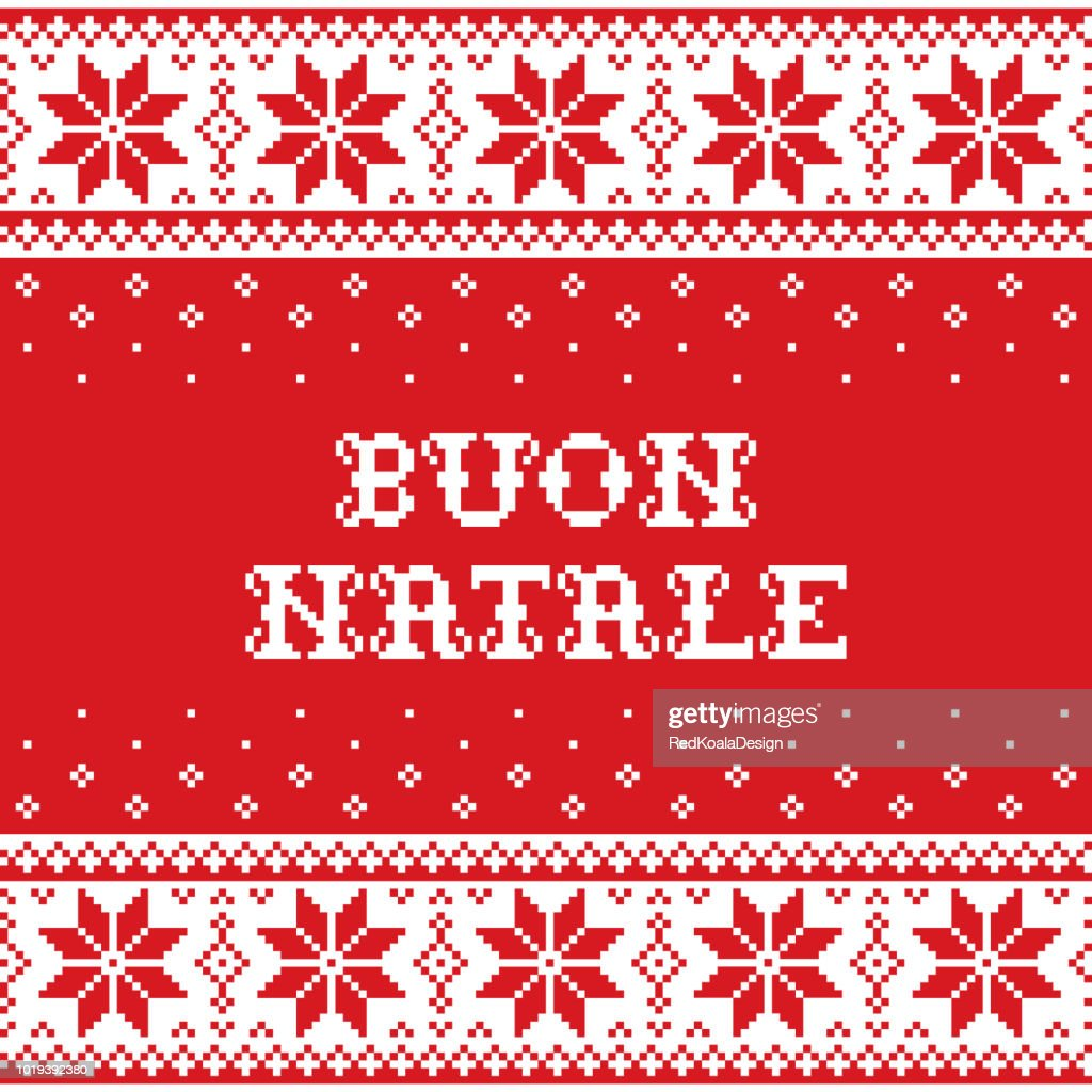 Boun Natale - Merry Christmas in Italian traditional seamless vector pattern or greeting card - Scandinavian knnitting, cross-stitch style