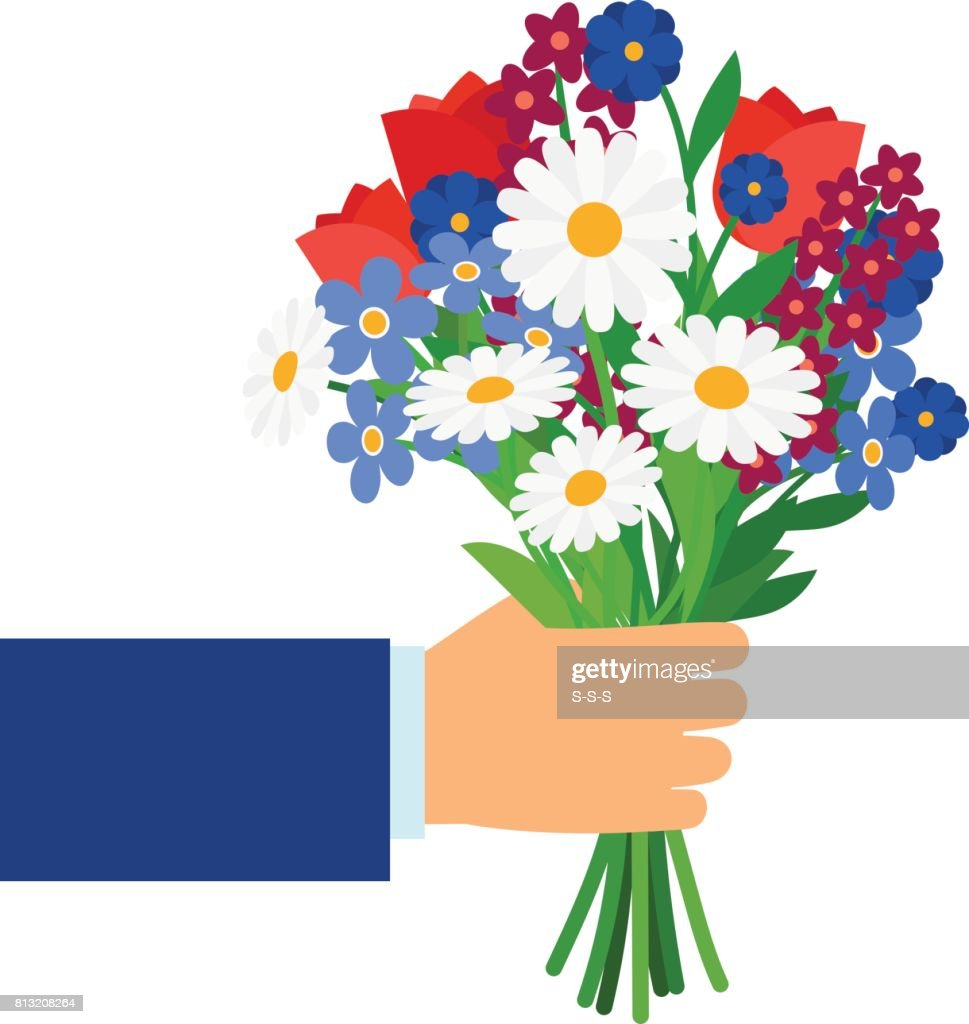 Bouquet in businessman hand