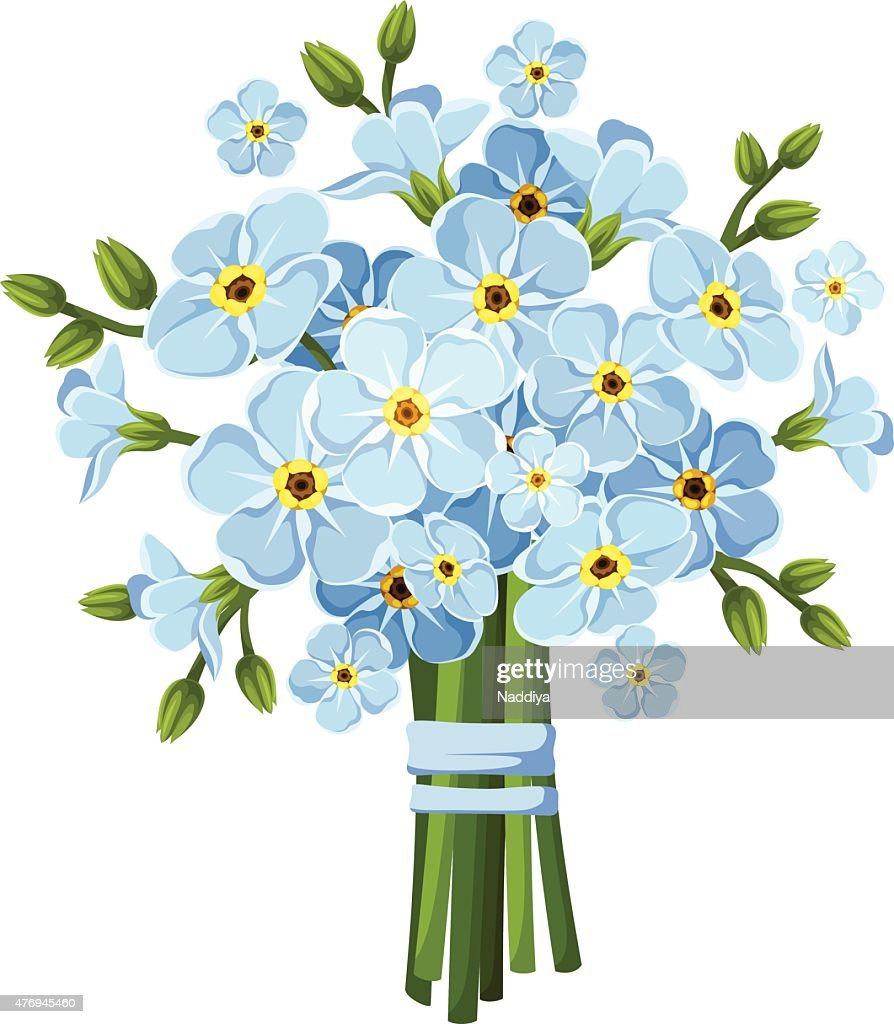 Bouquet of blue forget-me-not flowers. Vector illustration.