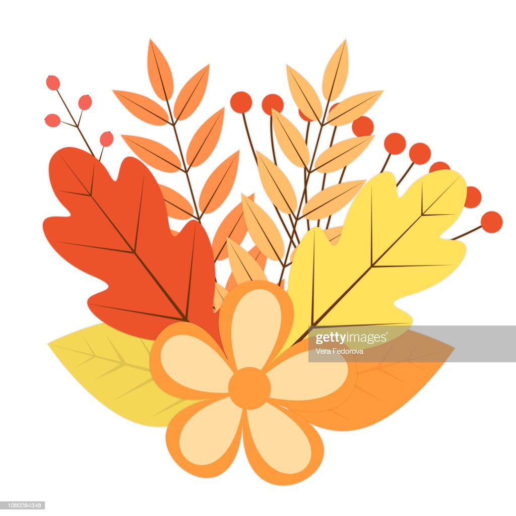 Bouquet of colorful autumn leaves. berries and flowers. Fall theme vector illustration. Thanksgiving day greeting card or invitation. Easy to edit design template for your artworks.