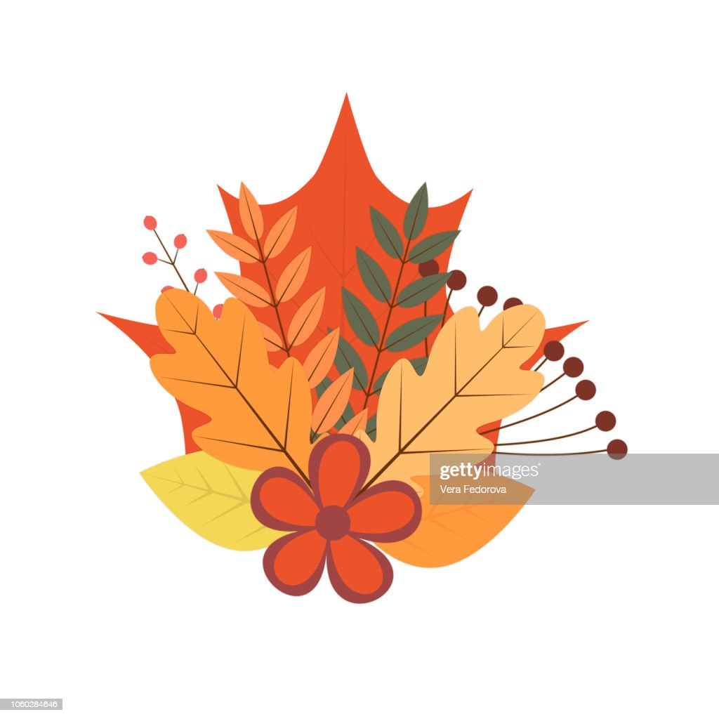 Bouquet of colorful autumn leaves. berries and flowers. Fall theme vector illustration. Thanksgiving day greeting card or invitation.